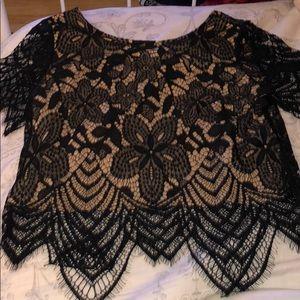 Black lace short sleeve shirt